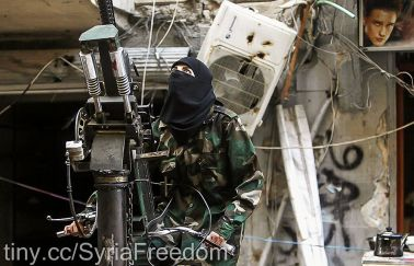 Female freedom fighter in Syria